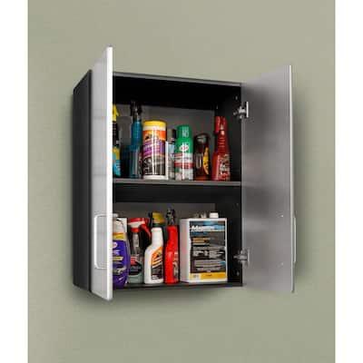 Metallic Series 1-Piece Composite Garage Storage System in Black (24 in. W x 30 in. H x 13 in. D)