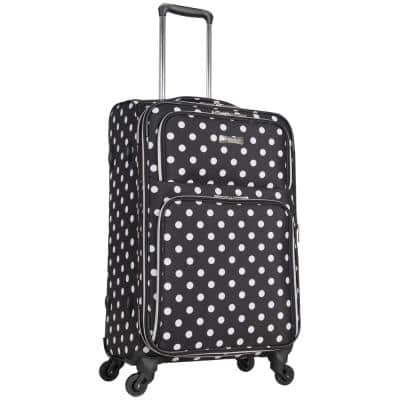 Albany Park 24 in. Lightweight Black/White Polka Dot Printed Expandable 4-Wheel Checked Luggage