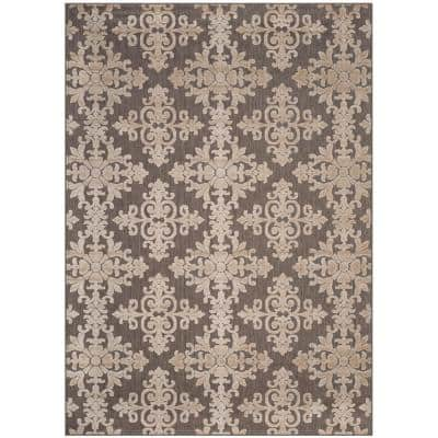 Cottage Taupe 9 ft. x 12 ft. Floral Indoor/Outdoor Area Rug