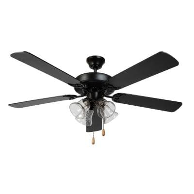 52 in. Indoor Black Ceiling Fan with Light