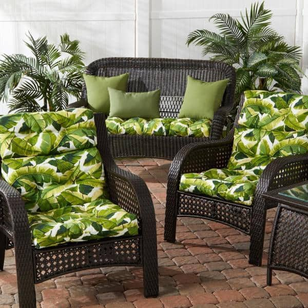 Greendale Home Fashions 22 In X 44 In Outdoor High Back Dining Chair Cushion In Palm Leaves White 2 Pack Oc6809s2 Palm White The Home Depot