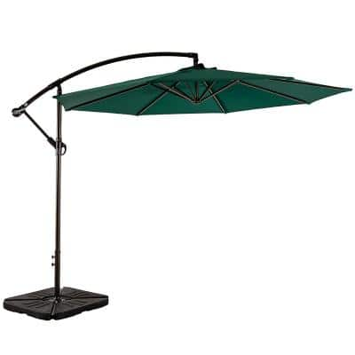 Bayshore 10 ft. Cantilever Hanging Patio Umbrella in Dark Green with Base Weights