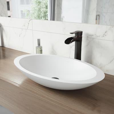 Niko Single Hole Single-Handle Vessel Bathroom Faucet with Pop-Up Drain in Antique Rubbed Bronze