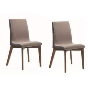 Redbridge Dining Grey and Natural Walnut Side Chairs with Curved Back (Set of 2)