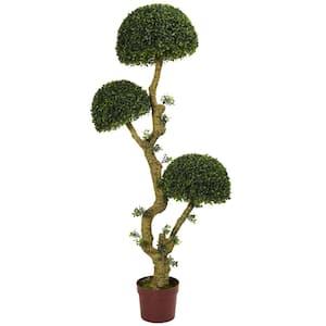 5 in. UV Resistant Indoor/Outdoor Triple Boxwood Artificial Tree