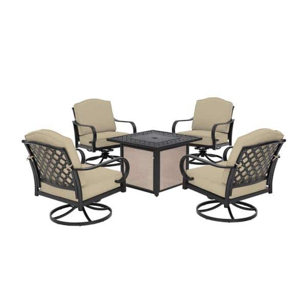 Hampton Bay Laurel Oaks 5 Piece Brown Steel Outdoor Patio Fire Pit Seating Set With Cushionguard Putty Tan Cushions H192 01202400 The Home Depot