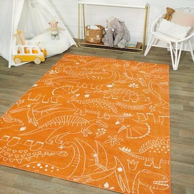 Parker Dinosaur Orange 5 ft. x 7 ft. Area Rug