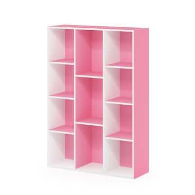 White/Pink 11-Cube Reversible Open Shelf Bookcase