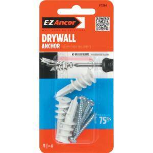 Twist-N-Lock 75 lb. #8 x 1-1/4 in. Philips Zinc-Plated Nylon Flat-Head Drywall Anchors with Screws (4-Pack)