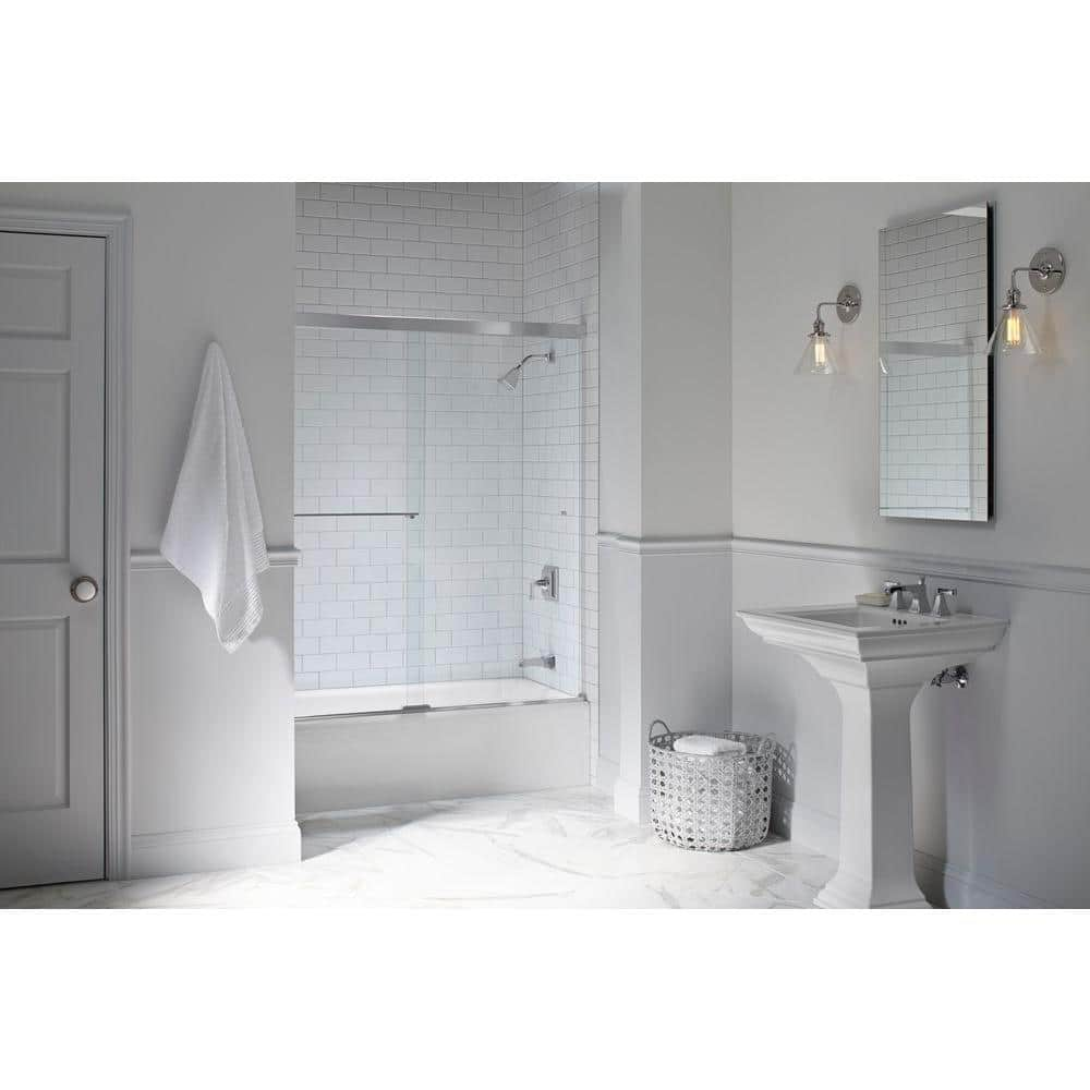 Kohler Revel 59 5 8 In X 55 1 2 In Frameless Sliding Tub Door In Bright Polished Silver With Handle K 707000 L Shp The Home Depot