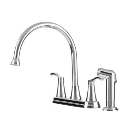 2-Handle Standard Kitchen Faucet with Matching Side Spray in Chrome