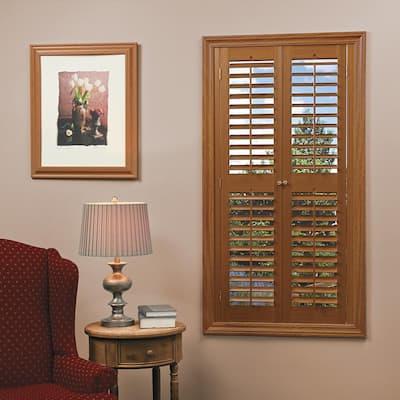 Oak 2-1/4 in. Plantation Faux Wood Interior Shutter 23 to 25 in. W x 54 in. L