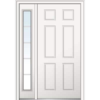 53 in. x 81.75 in. 6-Panel Right-Hand 6-Panel Primed Steel Prehung Front Door with One Sidelite on 6-9/16 in. Frame