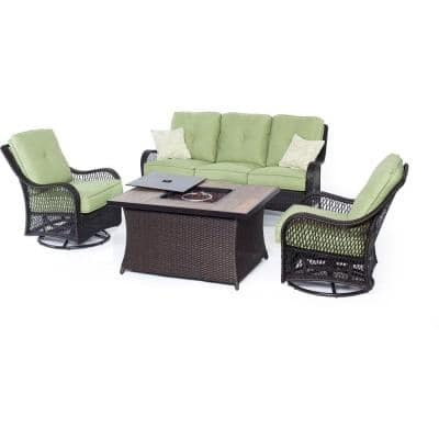 Orleans 4-Piece All-Weather Wicker Patio Fire Pit Seating Set with Avocado Green Cushions and Wood Grain Tile Top