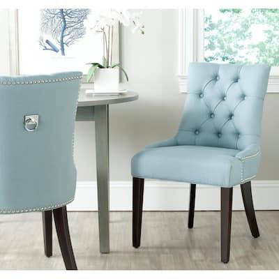 Harlow Light Blue/Espresso Cotton/Linen Side Chair (Set of 2)
