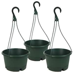 9.5 in. Green Plastic Hanging Basket (3-Pack)