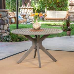 Stamford Gray Round Wood Outdoor Dining Table with X Base