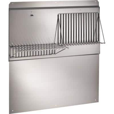 36 in. Backsplash with Shelves in Stainless Steel for Range Hood
