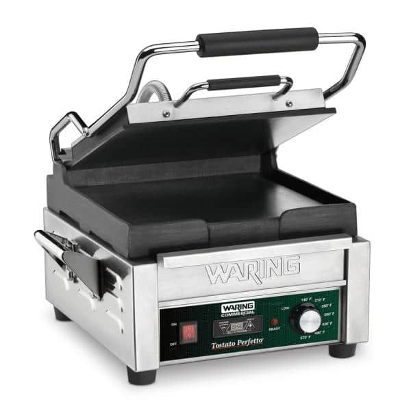 Tostato Perfetto Compact Flat Toasting Grill with Timer Silver - 120-Volt (9.75 in. x 9.25 in. Cooking Surface)