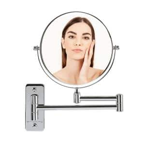 Small Round Wall Mounted Polished Chrome Makeup Mirror (11 in. H x 1.4 in. W), 1x-7x Magnification