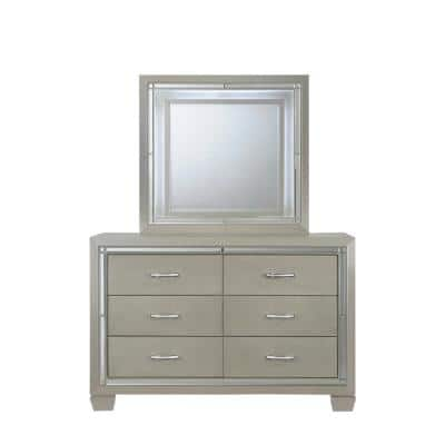 Glamour Youth 6-Drawer Dresser & Mirror w/ LED Light Set in Champagne