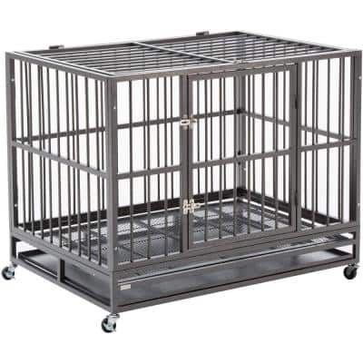 Sliverylake Fold-Able Dog Cage with Metal Tray and Wheels- 42 in. W x 33 in. H x 30 in. D