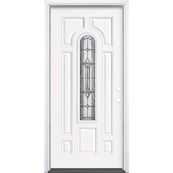 Masonite 36 In X 80 In Providence Center Arch Primed White Left Hand Inswing Steel Prehung Front Exterior Door With Brickmold 14667 The Home Depot