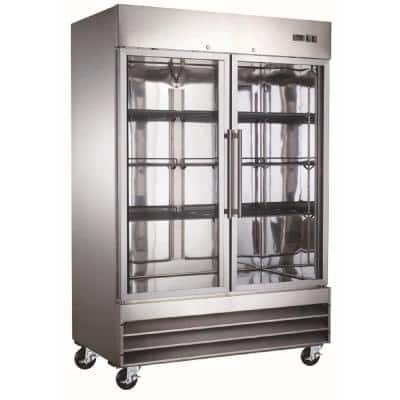 54 in. W 47 cu. ft. Double Glass Door Commercial Refrigerator Merchandiser in Stainless Steel