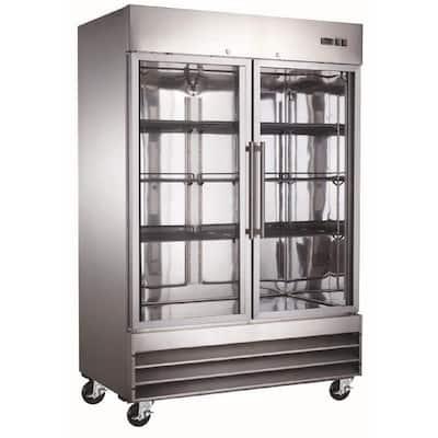 54 in. W 47 cu. ft. Double Glass Door Commercial Merchandiser Refrigerator in Stainless Steel