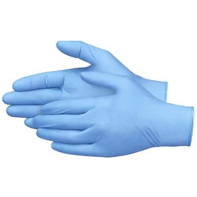 Large Blue Synmax Vinyl/Nitrile Blend 4G Multi-Purpose Disposable Gloves, (100-Pack)