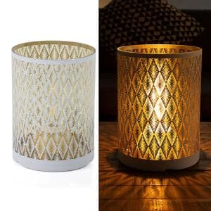 Indoor/Outdoor Diamond Lantern with Warm White Tungsten Light and Timer