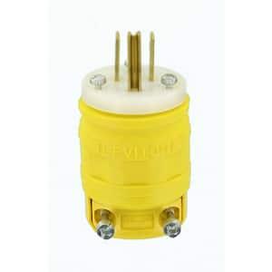 15 Amp 125-Volt Dustguard Industrial Grade Grounding Plug, Yellow