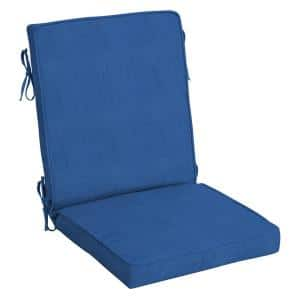 20 in. x 20 in. Lapis Blue Canvas Acrylic Outdoor Welted High Back Dining Chair Cushion