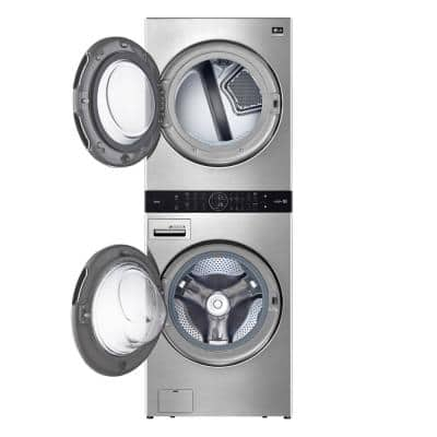27 in. Noble Steel Washtower Laundry Center with 5.0 cu. ft. Washer, 7.4 cu. ft. Gas Dryer