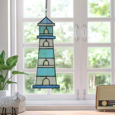 Blue Lighthouse Stained Glass Window Panel