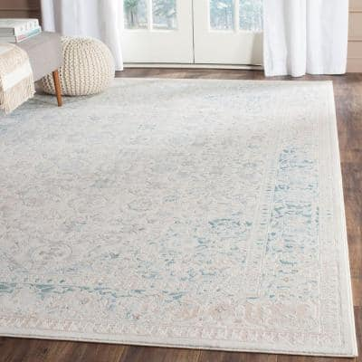 Passion Turquoise/Ivory 8 ft. x 11 ft. Border Area Rug