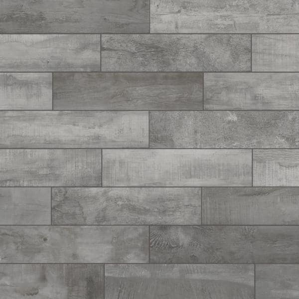 Florida Tile Home Collection Wind River Grey 6 In X 24 In Porcelain Floor And Wall Tile 14 Sq Ft Case Chdewnd026x24 The Home Depot