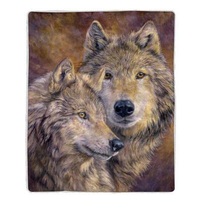 Wolf Print Sherpa Fleece Blanket