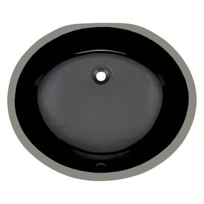 Undermount Porcelain Bathroom Sink in Black