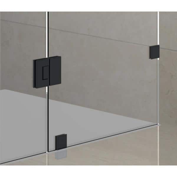 Aston Avalux 37 In X 72 In X 34 In Frameless Corner Hinged Shower Enclosure In Matte Black Sen987 Mb 3734 10 The Home Depot