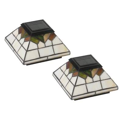 Wellington 4 in. x 4 in./ 5 in. x 5 in. Outdoor Stain Glass Solar Post Cap (2-Pack)