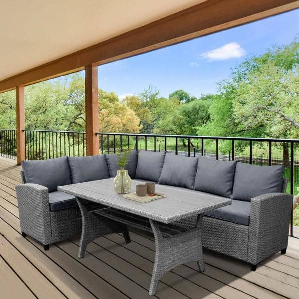 Mondawe Grey Patio Outdoor Dining, Grey Outdoor Furniture