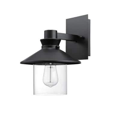 Westminster 1-Light Black Outdoor Indoor Wall Lantern Sconce with Clear Glass Shade