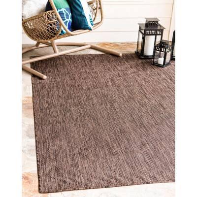 Outdoor Solid Light Brown 9' 0 x 12' 0 Area Rug