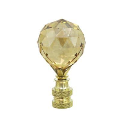2-1/4 in. Amber Faceted Crystal Lamp Finial with Brass Plated Finish (1-Pack)
