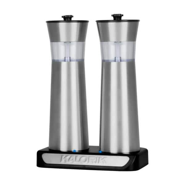Kalorik Rechargeable Gravity Stainless Steel Salt And Pepper Grinder Set Ppg 45587 Ss The Home Depot