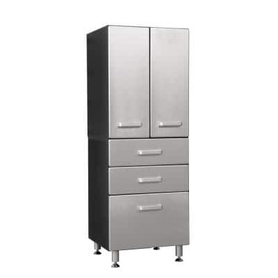 Metallic Series 71in. H x 24 in. W x 21 in. D 2-Piece Garage Storage Cabinet with 2-Doors and 3-Drawer