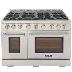 Professional 48 in. 6.7 cu. ft. Double Oven Propane Gas Range with 25K Power Burner Convection Oven in Stainless Steel