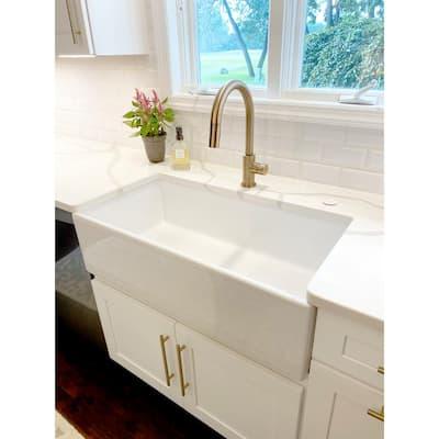 Bradstreet II Farmhouse Apron-Front Fireclay 36 in. Single Bowl Kitchen Sink in Crisp White