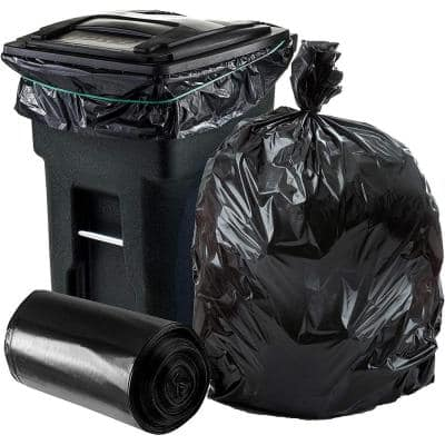 50 in. W x 60 in. H 64 Gal. 1.5 mil Black Gusset Seal Toter Compatible Trash Bags (50-Case)
